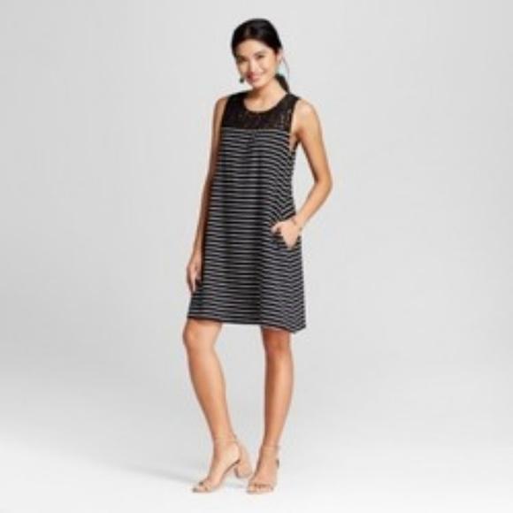 9e7cc4161831 Merona Dresses | New Black White Striped Swing Dress | Poshmark